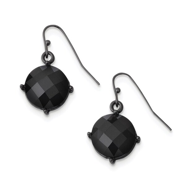 Black IP Black Epoxy Stones Leverback Dangle Earrings