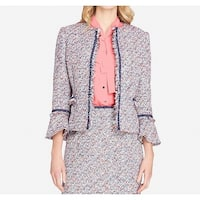 Tahari by ASL Pink Blue Womens Size 14 Tweed Open Front Jacket