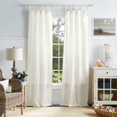 Martha Stewart Laguna Stripe Semi-Sheer Tie Tab Curtain Panel Pair