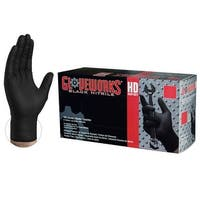 GLOVEWORKS GWBN Heavy Duty Black Diamond Texture Nitrile Industrial Latex Free Disposable Gloves (Box of 100) by AMMEX