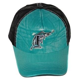 Florida Marlins MLB Washed Cotton Snapback Hat, Teal Black