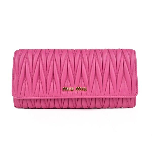 Miu Miu Pink Leather Matelasse Button Snap Wallet