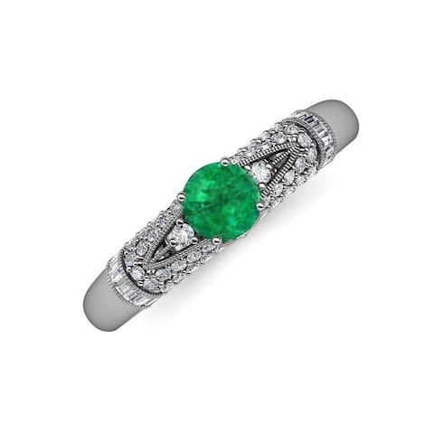 TriJewels Emerald Diamond 1 1/3 ctw Womens Engagement Ring 14K Gold