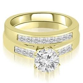 1.20 cttw. 14K Yellow Gold Channel Set Round & Princess Cut Diamond Bridal Set