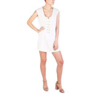 Prada Women's Cotton Perforated Pattern Dress White - 4