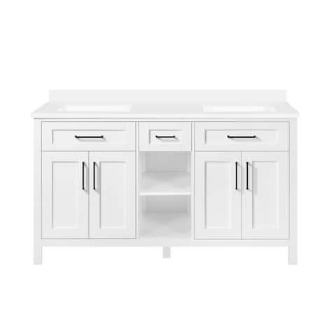 OVE Decors Tahoe Open Shelf 60 in. Kit Double Bathroom Vanity in White