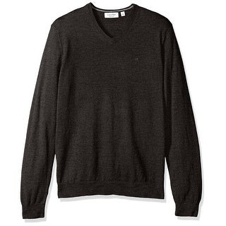 Calvin Klein NEW Heather Gray Mens Size XL Pullover V-Neck Wool Sweater