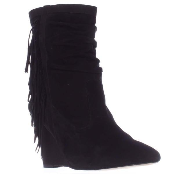 I35 Everleeh Fringe Wedge Pointed Toe Slouch Boots, Black - 12 us