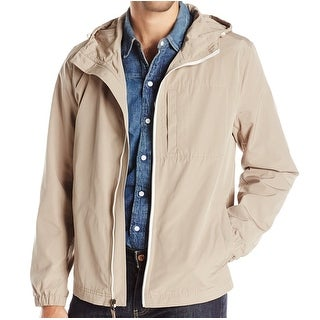 Kenneth Cole NEW Beige Mens Size Large L Hooded Lightweight Jacket