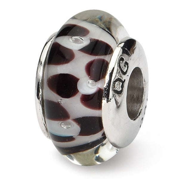 Sterling Silver Reflections Brown Floral Hand-blown Glass Bead (4mm Diameter Hole)