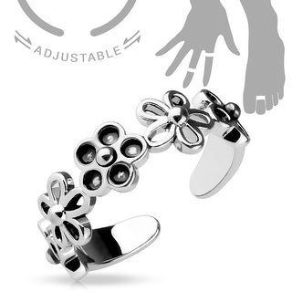 Linked 5 Petal Flowers Adjustable Toe Ring/Mid Ring (Sold Ind.)