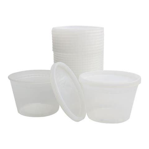10pcs 16oz Plastic Food Storage Meal Prep Soup Containers Box with Lids Leak Resistant Stackable Reusable Microwave Freezer Safe