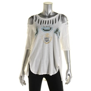 Free People Womens Graphic Distressed Casual Top - XS
