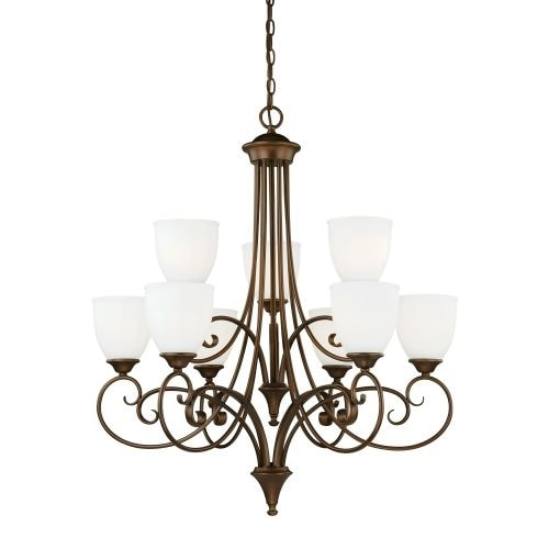 Vaxcel Lighting H0083 Claret 9 Light Two Tier Chandelier with Etched Glass Shades - 30.75 Inches Wide