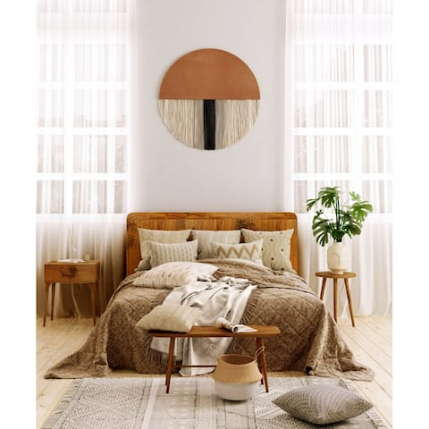 Light Brown Boho Wooden Round Wall Hanging