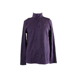 Calvin Klein Purple Heather 1/4-Zip Mock Neck Pullover Sweater M