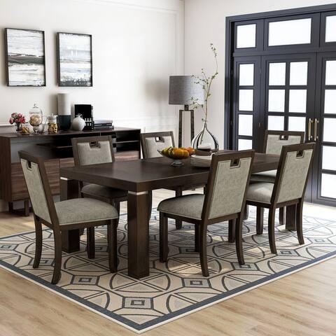 Furniture of America Mair Transitional Dark Walnut Dining Set