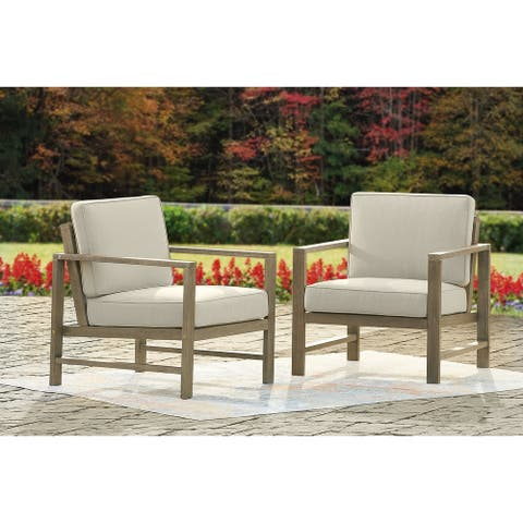 Fynnegan Light Brown Lounge Chair with Cushion, Set of 2