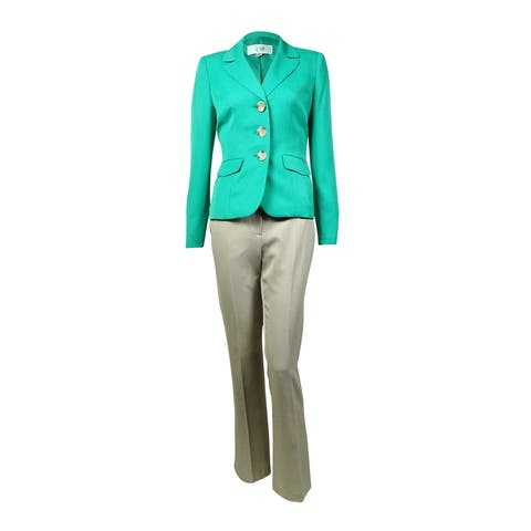 Le Suit Women's Notched Lapel Three Button Pant Suit