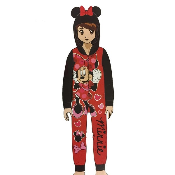 461512c64b2 Shop Minnie Mouse Girls' Fleece Blanket Sleeper Hooded Onesie Pajama - Free  Shipping On Orders Over $45 - Overstock - 23436652