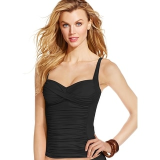 La Blanca Womens Twist Front Ruched Over-the-Shoulder Tankini Top, Black, 12