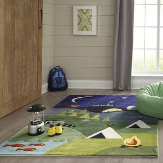 Momeni Lil Mo Whimsy Blue Camping Fun Hand-Tufted and Hand-Carved Rug (8' X 10') - 8' x 10'
