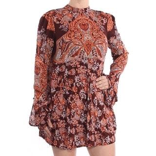 FREE PEOPLE Womens Burgundy Ruffled Printed Mini Tunic Tunic Dress  Size: M