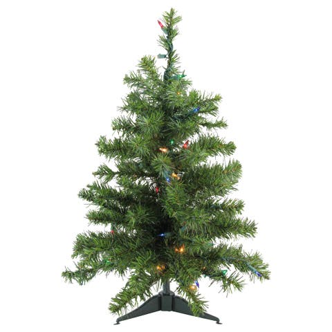 "18"" Pre-Lit Natural Two-Tone Pine Artificial Christmas Tree - Multi-Color Lights - under-3-feet"