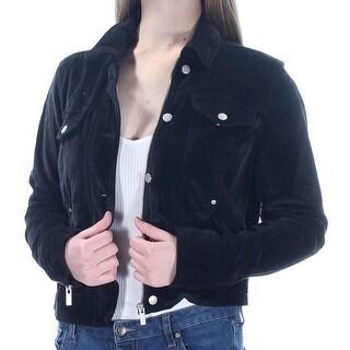 JESSICA SIMPSON $89 Womens New 1562 Black Pocketed Velour Zip Up Jacket M B+B
