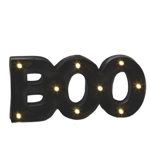 "17.25"" Battery Operated Black LED Lighted ""BOO"" Halloween Wall Decor"
