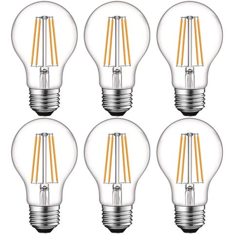 Luxrite Vintage A19 LED Light Bulbs 60W Equivalent, Dimmable, 800 Lumens, LED Edison Bulb 8W, E26 Base (6 Pack)
