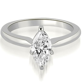 0.50 cttw. 14K White Gold Classic Solitaire Marquise Diamond Engagement Ring