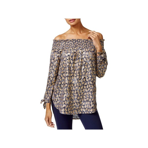 c5675454b80f Shop MICHAEL Michael Kors Womens Blouse Off-The-Shoulder Metallic - Free  Shipping On Orders Over $45 - Overstock - 23440976