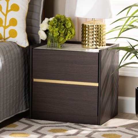 Walker Modern and Contemporary Dark Brown and Gold Finished Wood Nightstand with Faux Marble Top
