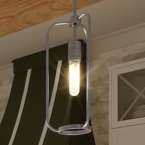 "Luxury Urban Loft Pendant Light, 14.875""H x 7""W, with Minimalist Style, Galvanized Steel, UHP3270 by Urban Ambiance"