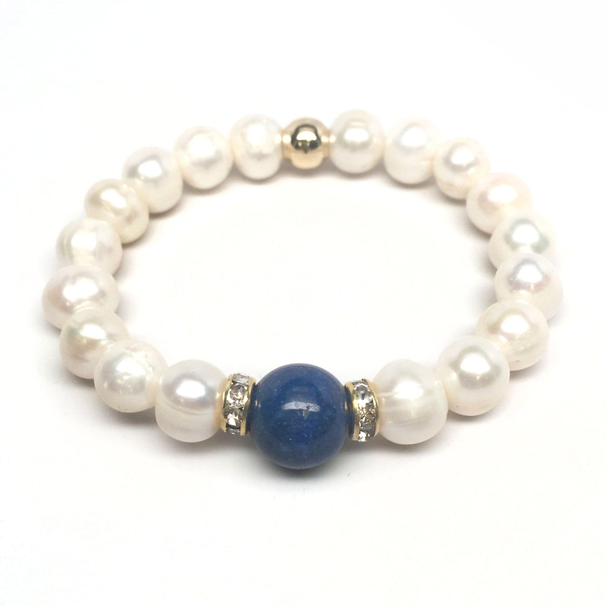 "Freshwater Pearl & Blue Jade Joy 7"" Bracelet - Thumbnail 0"