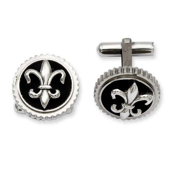 Chisel Titanium with Black Enamel Fleur De Lis Cuff Links