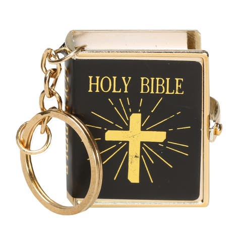 US Nordic Import & Export Co. Real Miniature Bible Keychain - Printed Christian Holy Book Key Ring