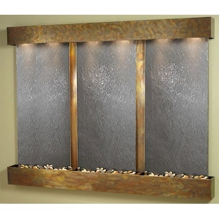 Adagio Deep Creek Falls Wall Fountain Black FeatherStone Slate Rustic Copper - D