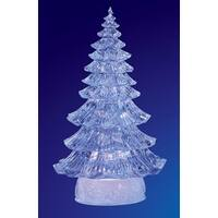 Pack of 2 Icy Crystal Illuminated Traditional Christmas Tree Figures 12""