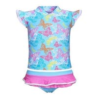 Sun Emporium Baby Girls Blue Butterfly Garden Sun Shirt Nappy Cover Set