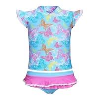 Sun Emporium Baby Girls Blue Butterfly Garden Sun Shirt Nappy Cover Set