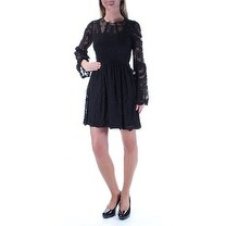 Womens Black Long Sleeve Above The Knee Wear To Work Dress Size: XS