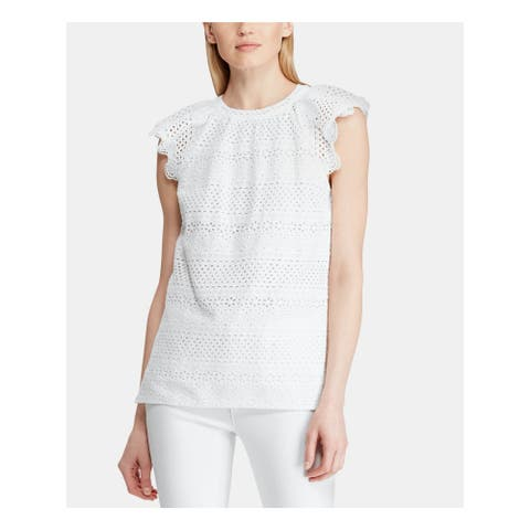 RALPH LAUREN Womens White Lace Cap Sleeve Jewel Neck Top Size XL