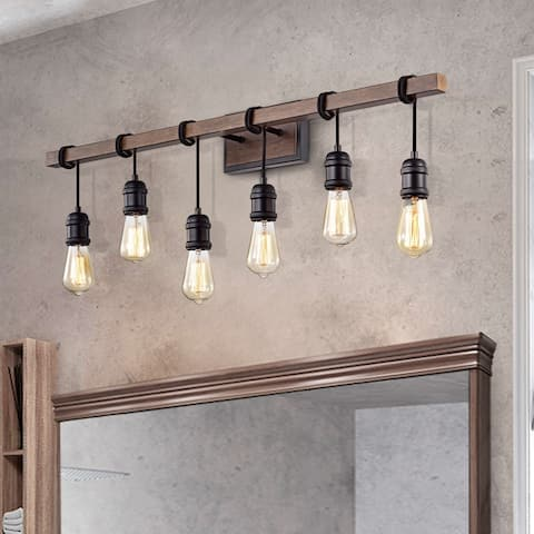 Betisa 6-light Antique Black and Faux Wood Grain Finish Wall Sconce