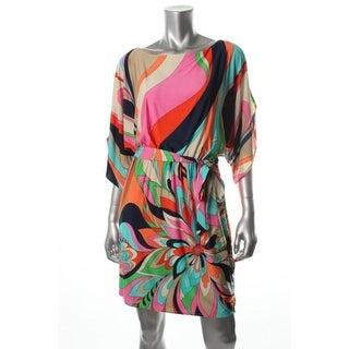 Trina Turk Womens Matte Jersey Cold Shoulder Wear to Work Dress - 4
