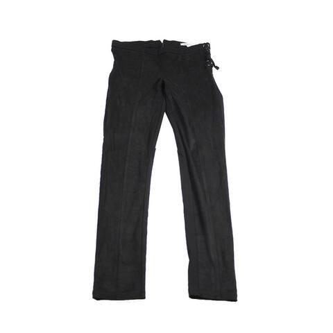 American Rag Juniors Black Mixed-Media Side-Laced Skinny Pants 7