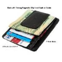 Improving Lifestyles® Leather Money Clip Magnet Wallet with ID window Black with FREE Organza Gift Bag ELILCLIP02BK
