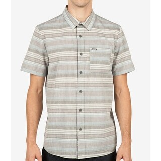 Volcom NEW Gray Mens Size Large L Button Down Striped Short-Sleeve Shirt
