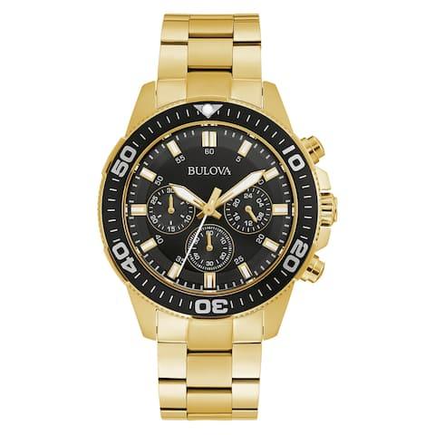 Bulova Men's 98A248 Goldtone Stainless Chrono Black Dial Bracelet Watch - Gold-Tone